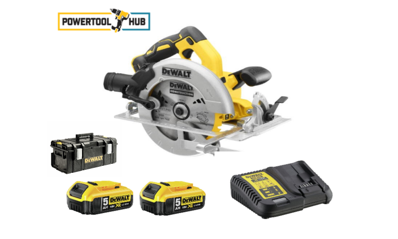DeWalt DCS570P2 18V XR Brushless 184mm Circular Saw With 2 x 5.0Ah Batteries