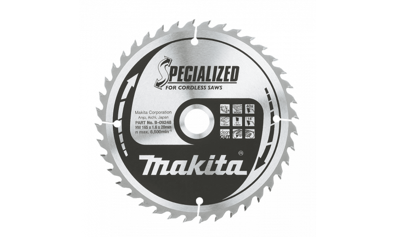 Makita Specialised Cordless Saws TCT Saw Blade 165mm x 20mm 40T (B-09248)