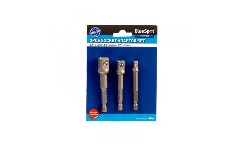Bluespot 3 Piece Drill to Socket Adaptor Kit BS-14108