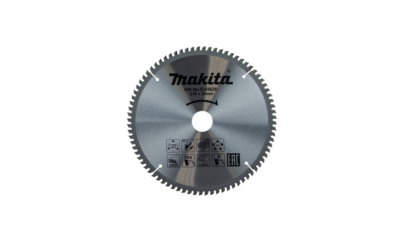Makita TCT Multi Purpose Saw Blade 216mm x 30mm 80T (D-65626)