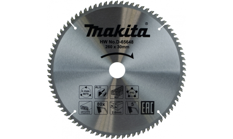 Makita Multi Purpose Tct Saw Blade 260mm x 80t x30mm (D-65648)