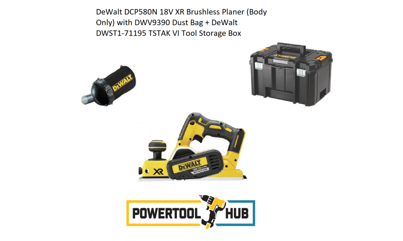 DeWalt DCP580N 18V XR Brushless Planer (Body Only) with DWV9390 Dust Bag + DeWalt DWST1-71195 TSTAK VI Tool Storage Box