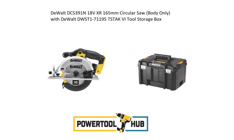 DeWalt DCS391N 18V XR 165mm Circular Saw (Body Only) with DeWalt DWST1-71195 TSTAK VI Tool Storage Box