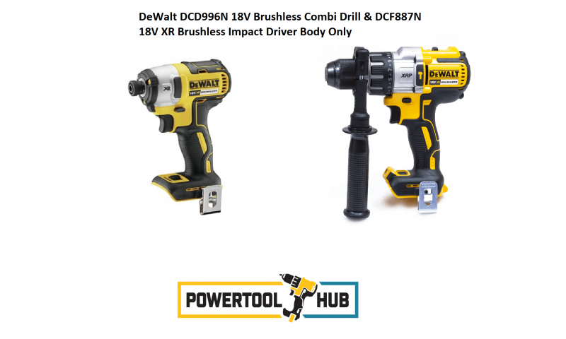 DeWalt DCD996N 18V Brushless Combi Drill & DCF887N 18V XR Brushless Impact Driver Body Only