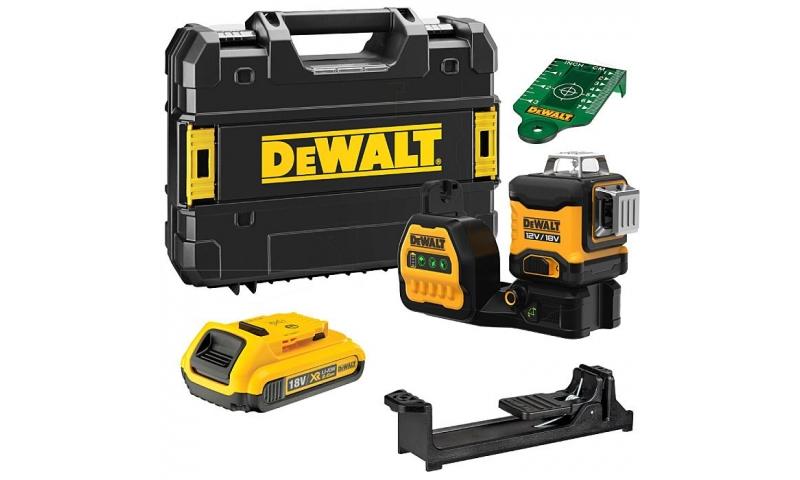 DEWALT DCE089D1G18 18V Green Beam Multi-Line Laser, 1 x 2.0Ah Battery