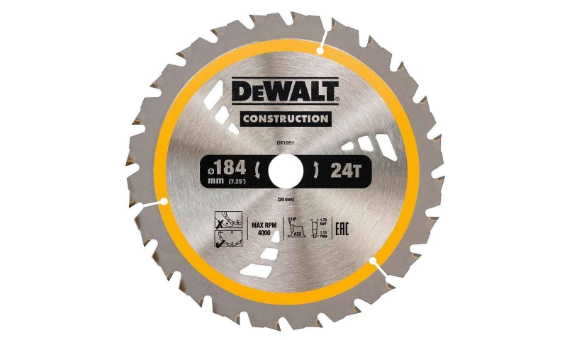 Dewalt DT1951-QZ Dewalt Construction Saw Blade 184mm x 20mm 24T