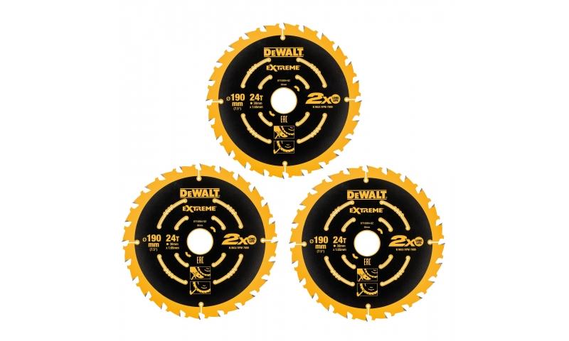 DeWalt DT10399 190mm 24T Extreme Framing Circular Saw Blade 3pk