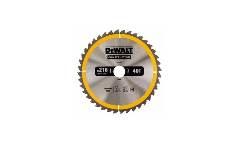 Dewalt Saw Blade 216mm X 30mm X 40 Teeth (DT1953-qz)