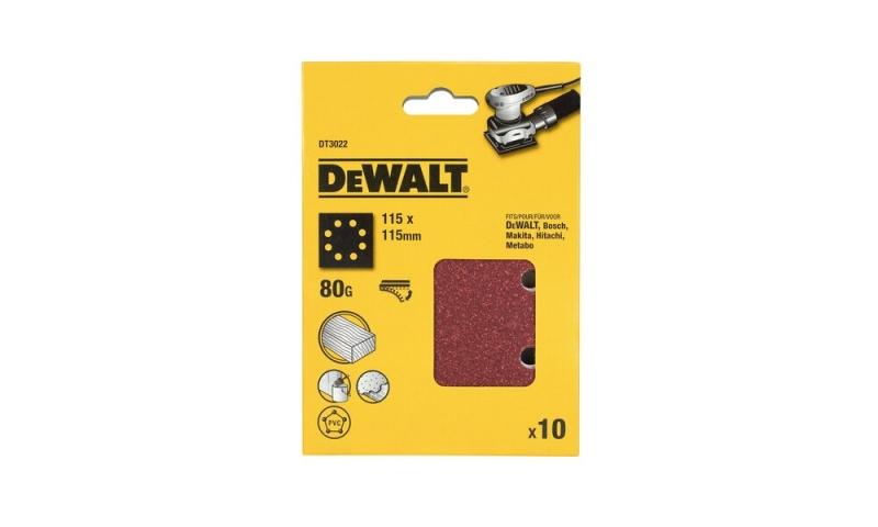 DeWalt DT3022-QZ 1/4 Sheet Sanding Sheets Pre-Punched 115 x 115mm 80g (10)