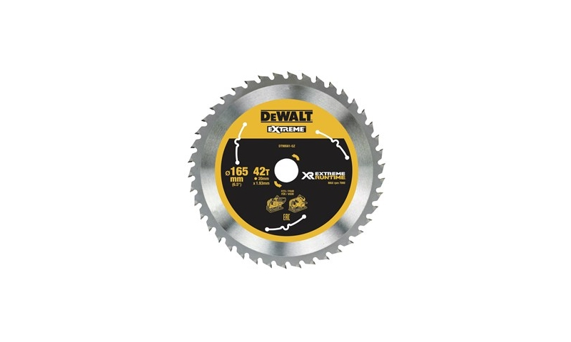 DeWalt DT99561 165mm x 20mm x 42T XR Circular Saw Blade (Suits DCS520)
