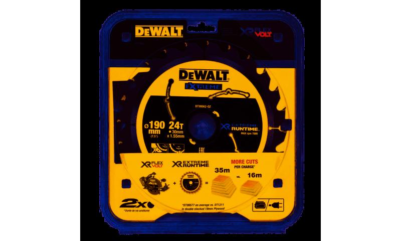 DeWalt DT99562QZ 190mm x 30mm 24T FlexVolt Xtreme Runtime Saw Blade
