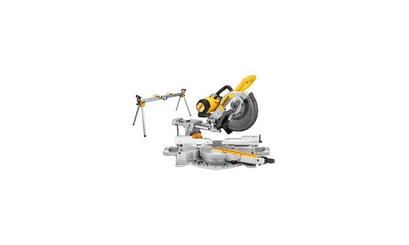 DeWalt 250mm XPS Double Bevel Slide Mitre Saw 110V (DWS727)with DE7023 Legstand