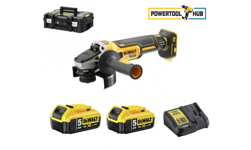 DeWalt DCG405P2 18v XR 125mm Brushless Angle Grinder 2 × 5.0Ah Batteries,Charger & Tstak Case