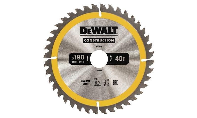 DEWALT DT1945 CIRCULAR SAW BLADE 190MM x 30MM x 40T AC