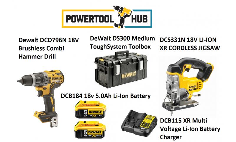 Dewalt Kit PTH 2 Dcd796n Drill + Dcs331n Jigsaw C/W 2 x 5 Amp Batts +Ds300 Medium Box