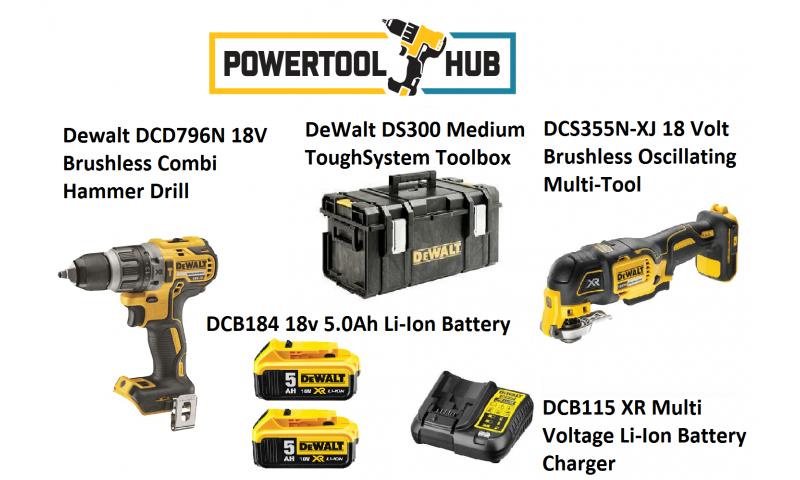 Dewalt Kit PTH 3 Dcd796n Drill + Dcs355n Multi Tool C/W 2 x 5 Amp Batts +Ds300 Medium Box