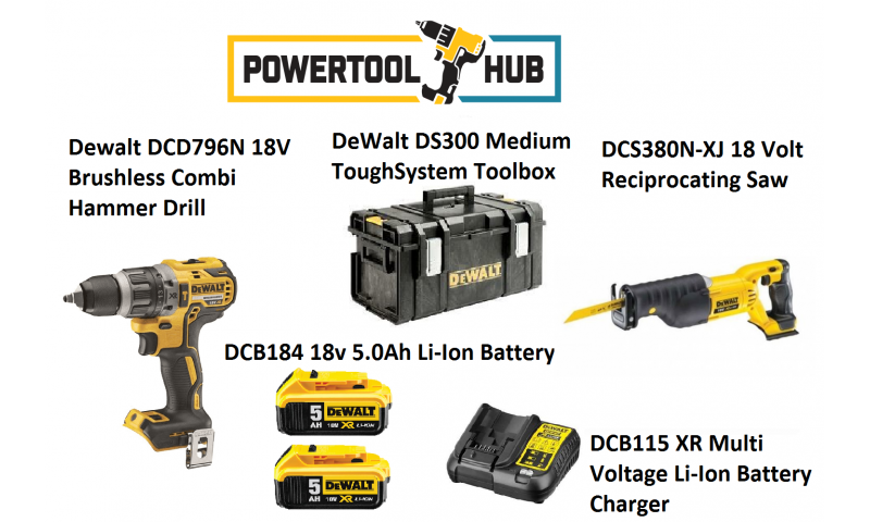 Dewalt Kit 4 Dcd796n Drill + Dcs380n Sabre Saw C/W 2 x 5 Amp Batts +Ds300 Medium Box