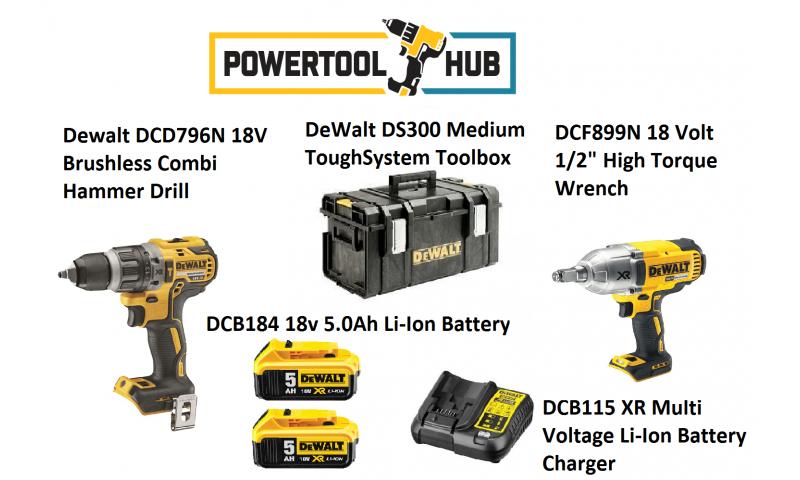 Dewalt Kit PTH 5 DCF796n Drill + DCF889 Impact Wrench C/W 2 x 5 Amp Batts +Ds300 Medium Box