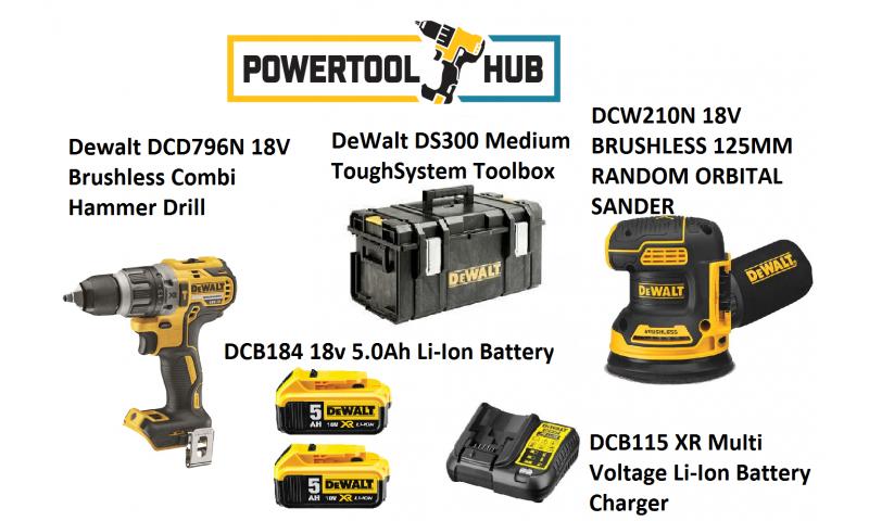 Dewalt Kit PTH 7 DCF796n Drill + DCW210N Brushless Sander C/W 2 x 5 Amp Batts +Ds300 Medium Box