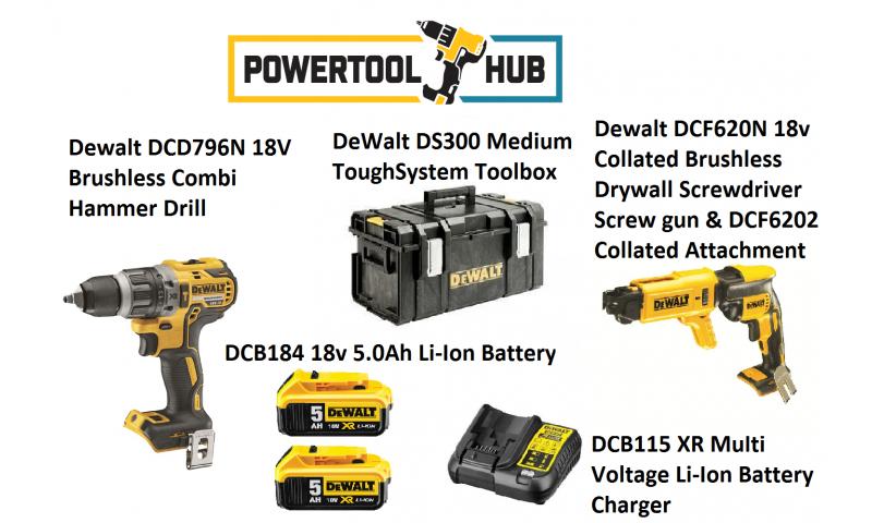 Dewalt Kit PTH 8 DCF796n Drill + DCF620N XR 18v Collated Brushless Drywall Screwdriver Screw Gun C/W 2 x 5 Amp Batts +Ds300 Medium Box