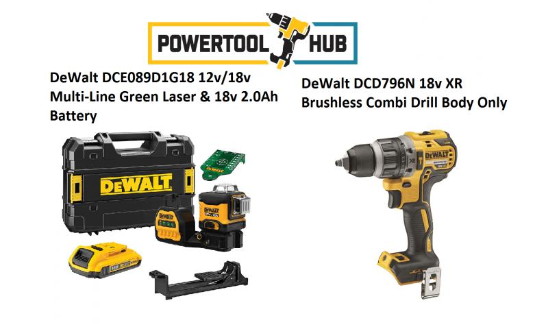 DeWalt Kit PTH 1 DCE089D1G18 18v Multi-Line Green Laser & Dewalt Dcd796n 2 Speed Drill 18v 2 x 2.0Ah  Battery