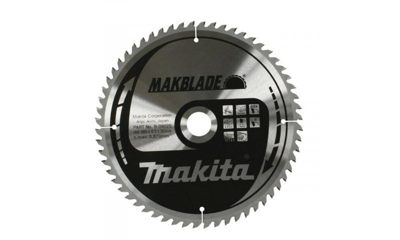 Makita B-09020 260mm x 30mm x 60T For Stationary Saws