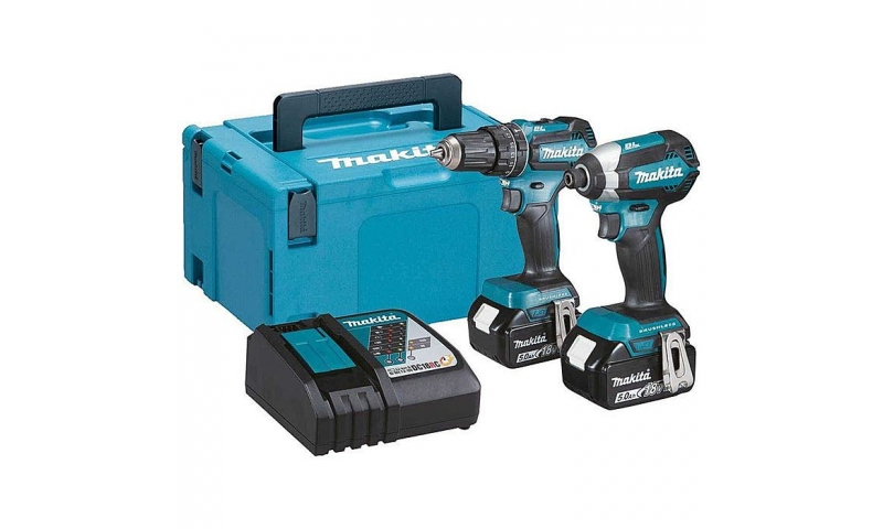 Makita DLX2283TJ 18v LXT Brushless Twin Pack 2 x 5.0Ah Battery DHP485 & DTD153