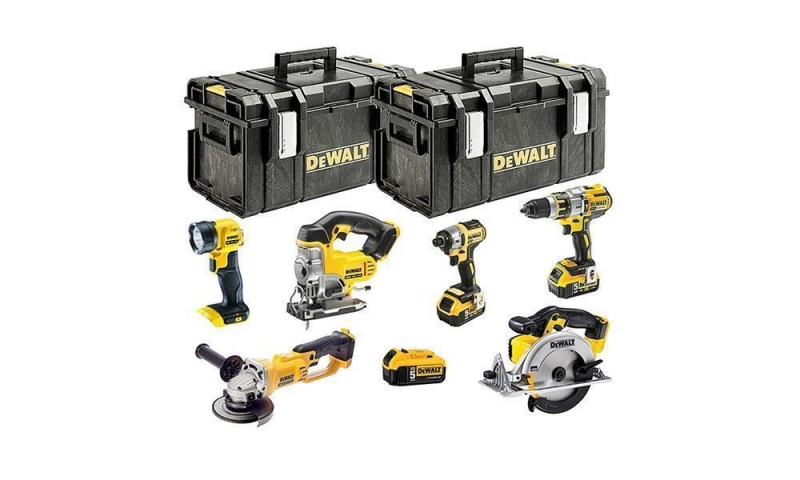DeWalt DCK694P3 18V XR Cordless 6 Piece Kit with 3 x 5.0Ah Batteries and 2 Cases
