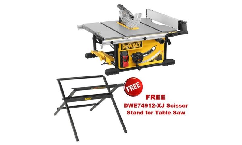 DEWALT DWE7492 110v 250mm Table Saw with Scissor Leg Stand