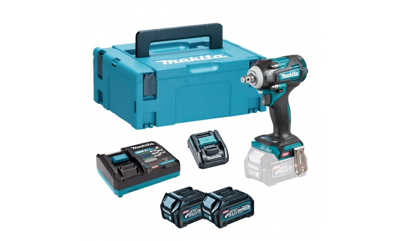 Makita 40V Max XGT Brushless 1/2″ Impact Wrench with 2 x 2.5Ah Batteries and Charger with ADP10 Adapter in a Makpac Case Tw004gd203